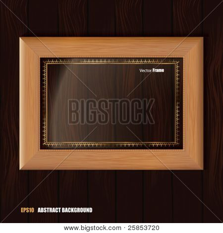 Vector Empty Wooden Frame on Wooden Wall