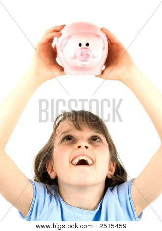 Girl Holding A Piggy Bank