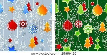 Patrones de Navidad sin fisuras. Dos variantes de color. Versión de la trama.