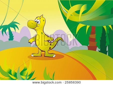 Smallest dinosaur in the wild woods.  Vector illustration