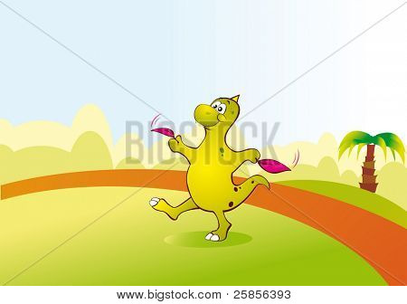 A small dinosaur learn to fly in the glade. Playing dinosaur. Vector illustration