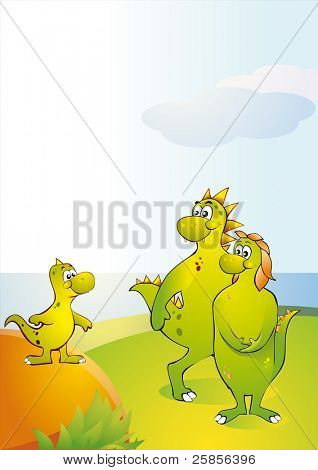 A small dinosaur with parents. Vector Illustration