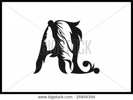Template logo. Silhouette of female heads in the letters AL