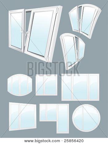 White plastic windows. Vector illustration