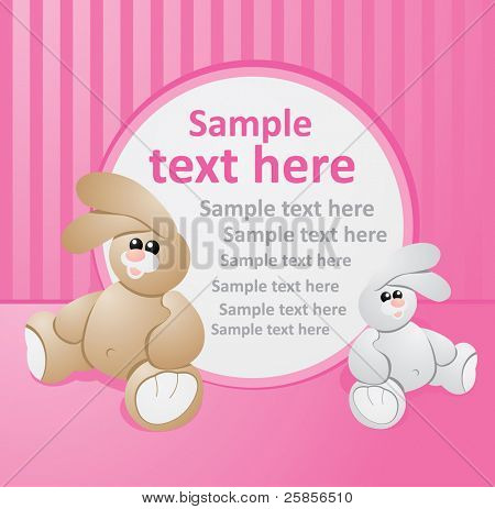 pink template with rabbits