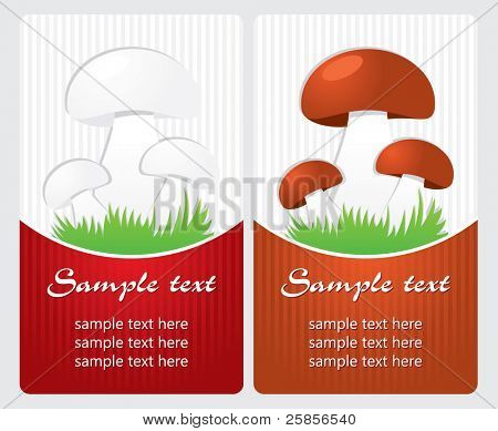 Mushrooms. Vector label