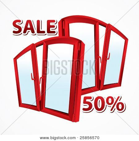 Sale of plastic windows. Red