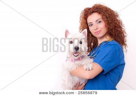 Female vet with dog