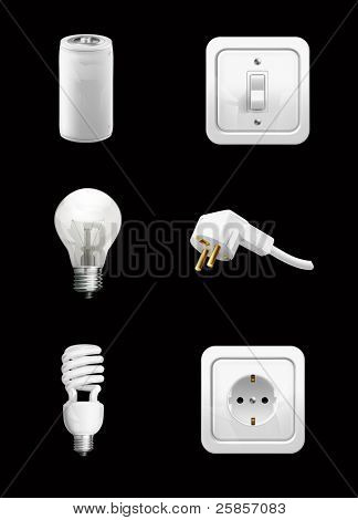 Electrical appliance on black, vector