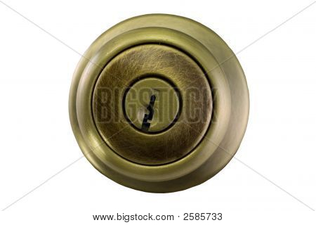 Brushed Brass Doorknob On White