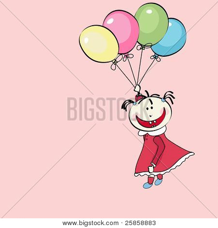 happy little girl flying with the balloons