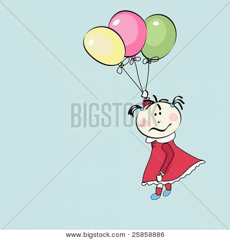 little girl flying with the balloons