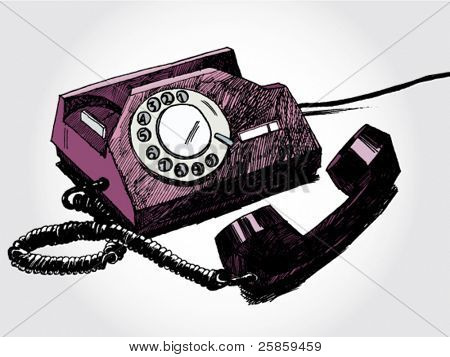 Hand Drawn Illustration of Retro Telephone Colorful