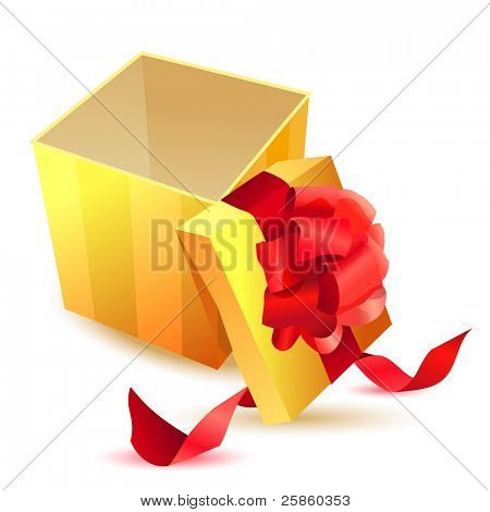 Open yellow gift box with red ribbon isolated. Raster version.