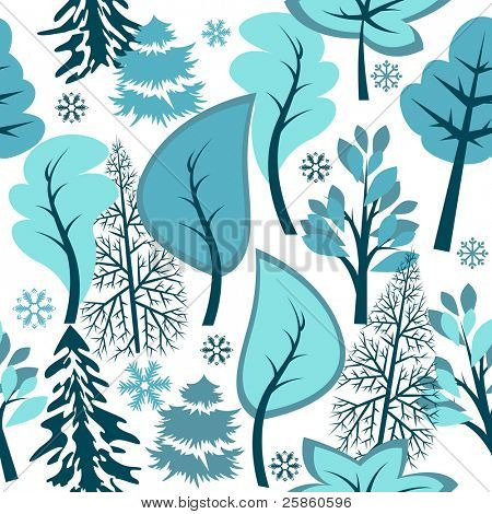 Beautiful seamless blue pattern with winter forest.  Raster.version.