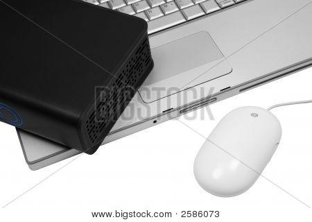 Notebook And An External Hard Drive