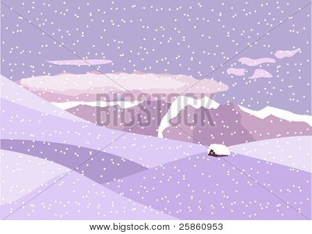 Winter landscape. Mountaines surround small house. Raster version.