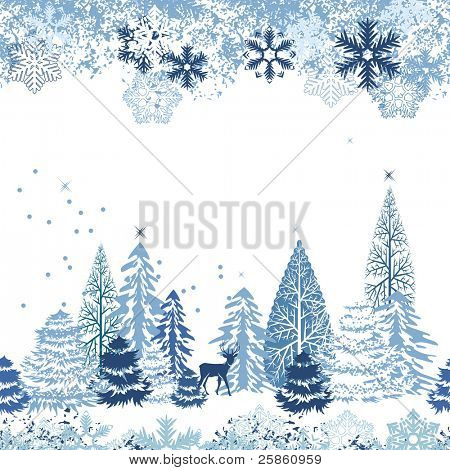 Beautiful seamless blue pattern with winter forest.. Raster version.