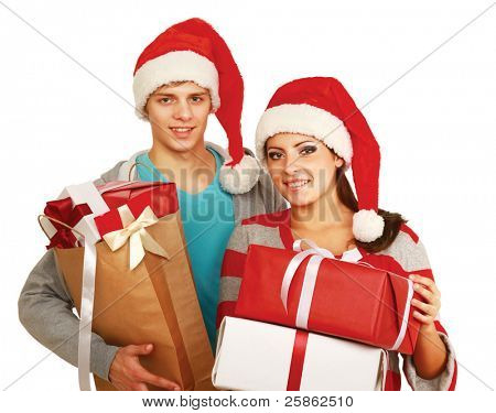 Portrait of young pretty couple holding big red box - christmas gift and looking at camera isolated on white background