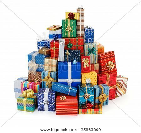 Big Stack Of Colorful Christmas Presents