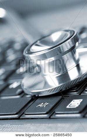 stethoscope on keyboard