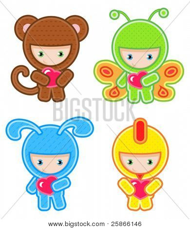 vector illustration of cute kids wearing masquerade