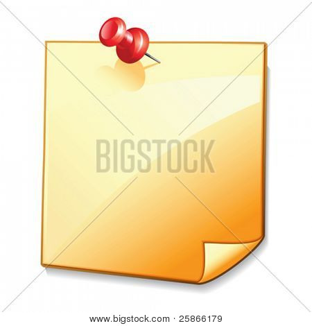 vector illustration of blank note paper with pin