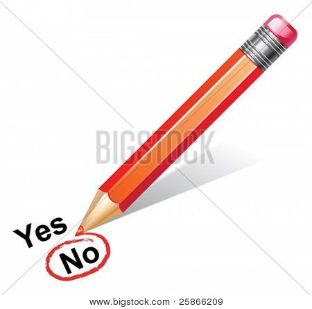 vector illustration of red pencil choosing no