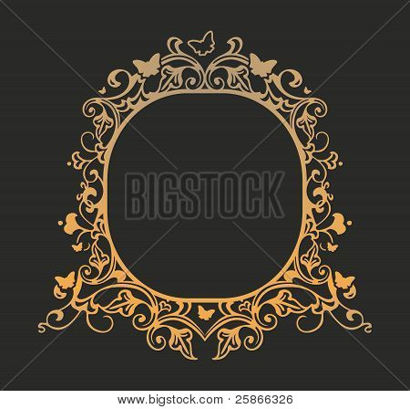 Frame with patterns of butterflies and flowers