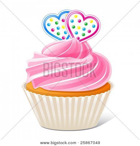 vector illustration of Cupcake with hearts