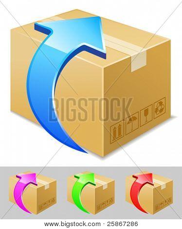 vector illustration of box download icon