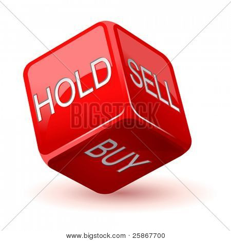 vector illustration of red dice. Hold. Sell. Buy