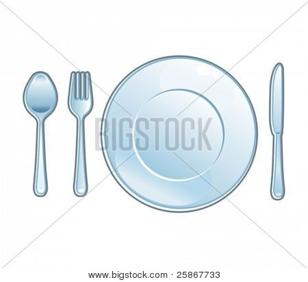 Knife, plate and fork. Spoon