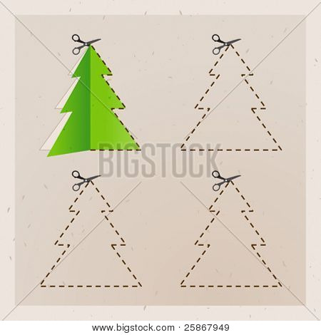 scissors cut Christmas tree. Old paper