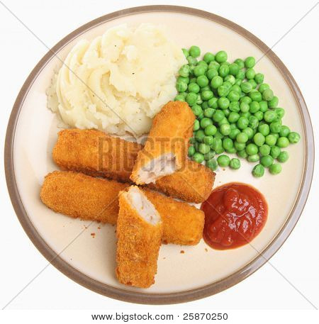 Fish fingers with mashed potato, peas and tomato ketchup.