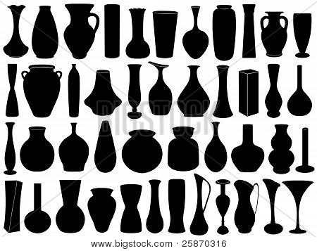 Vase set isolated
