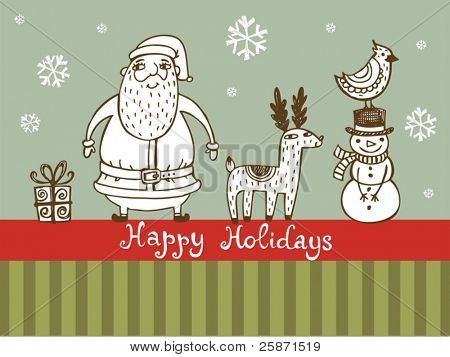 Retro style vector Christmas card
