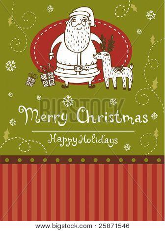 Christmas greeting card with Santa and Reindeer
