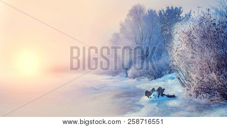 Beautiful Winter landscape scene background