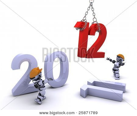 3D render of a Robot Bringing the new year in