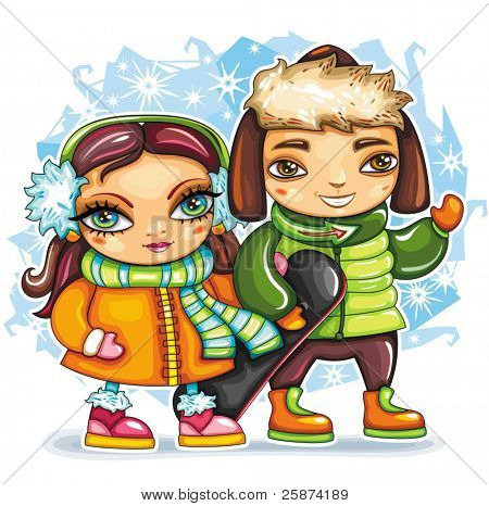 Cute pretty girl and boy wearing colorful clothes, holding snowboard walking outside on the winter day in the snow.