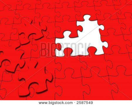 Red Puzzle With 3 Pieces Taken Out