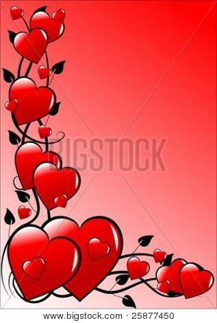 A valentines day vector illustration with a series of red hearts on a graduated pink base with room for text