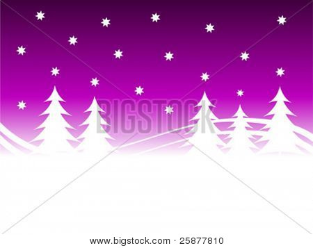 A christmas winter vector background illustration with a purple starry sky over a white tree lined snowy hill