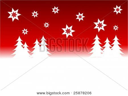 a red vector christmas background illustration with a red starry sky over a white tree lined snowy hill