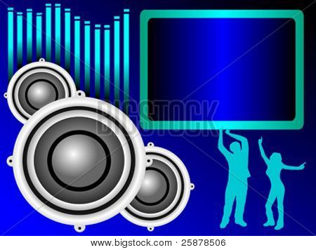 a vector background illustration with a group of musical speakers on a blue background with a text box and graphic equaliser and silhouetted dancers, useful for party invitation