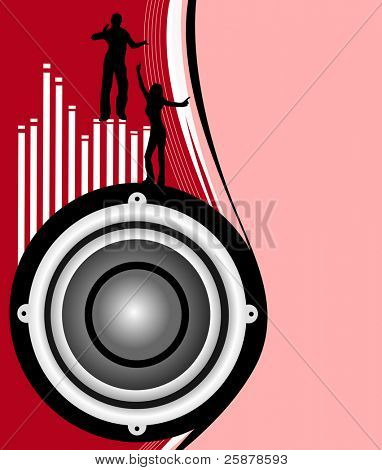 A musical background illustration with a large audio speaker on a dark red and pink backdrop with a graphic equalizer in white, and silhouetted dancers, room for text