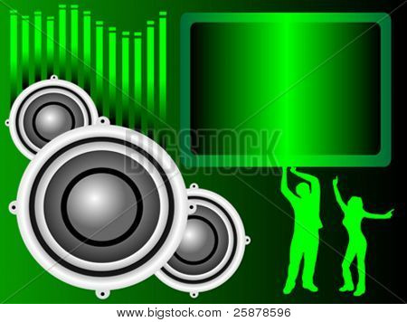 A vector background illustration with a group of musical speakers on a green background with a text box and graphic equaliser and silhouetted dancers, useful for party invitation
