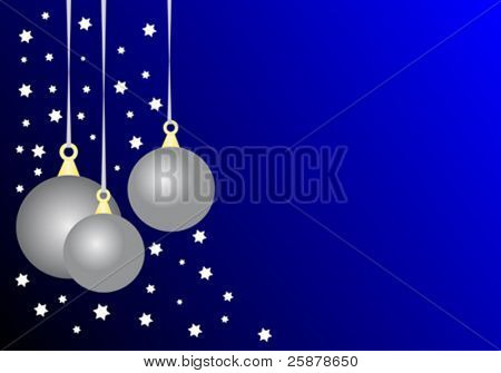 A christmas vector illustration with three silver baubles on a dark blue graduated ground with room for text