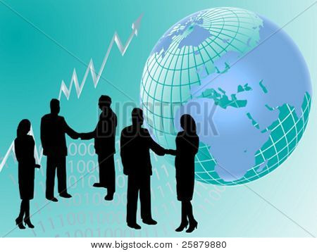 A vector group of business people in silhouette shaking hands in front of a graph showing upward trends and a map of the world